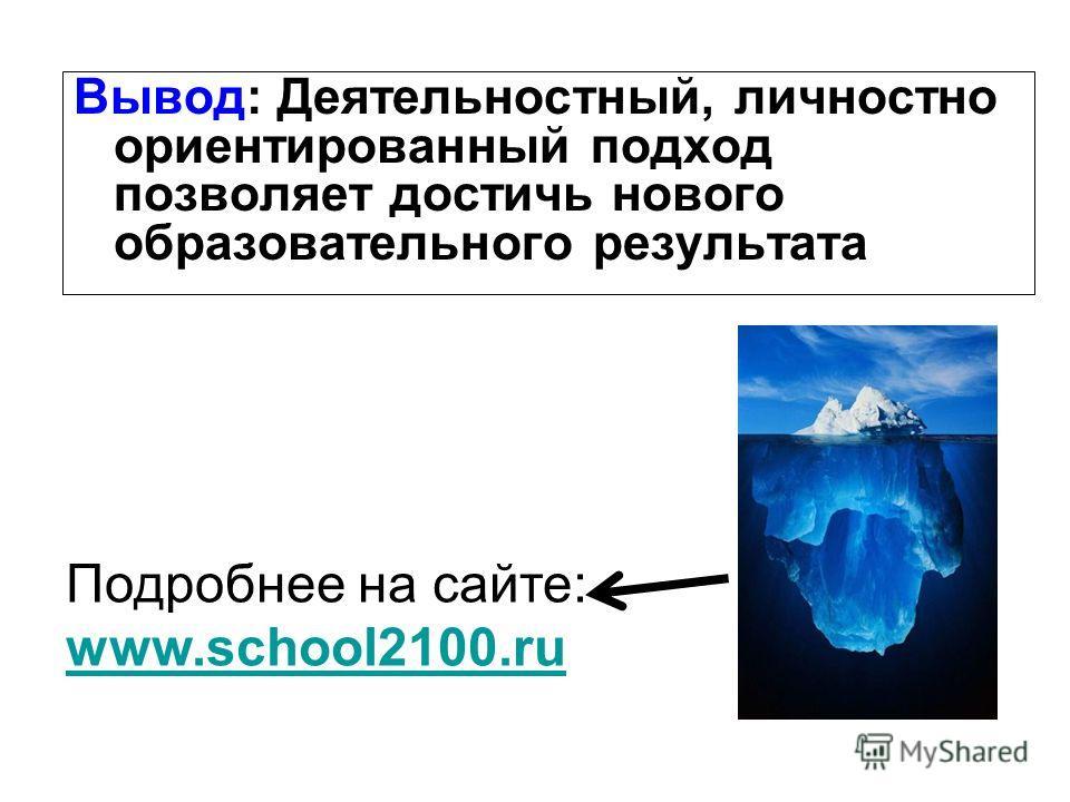 Вывод: Деятельностный, личностно ориентированный подход позволяет достичь нового образовательного результата Подробнее на сайте: www.school2100.ru