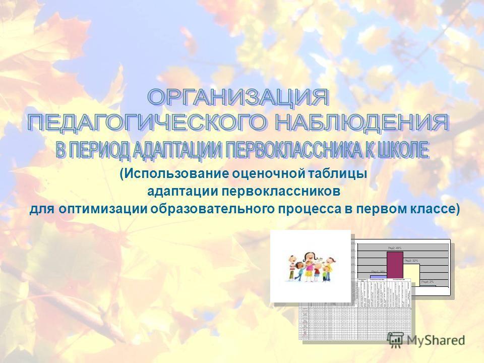 (Использование оценочной таблицы адаптации первоклассников для оптимизации образовательного процесса в первом классе)