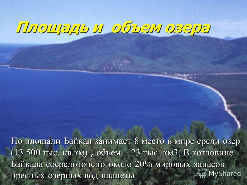 Площадь и объем озера По площади Байкал занимает 8 место в мире среди озер (13 500 тыс. кв.км), объем – 23 тыс. км3, В котловине Байкала сосредоточено около 20% мировых запасов пресных озерных вод планеты