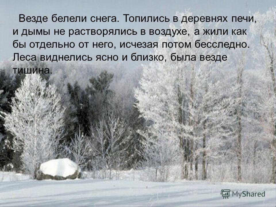 Везде белели снега. Топились в деревнях печи, и дымы не растворялись в воздухе, а жили как бы отдельно от него, исчезая потом бесследно. Леса виднелись ясно и близко, была везде тишина.