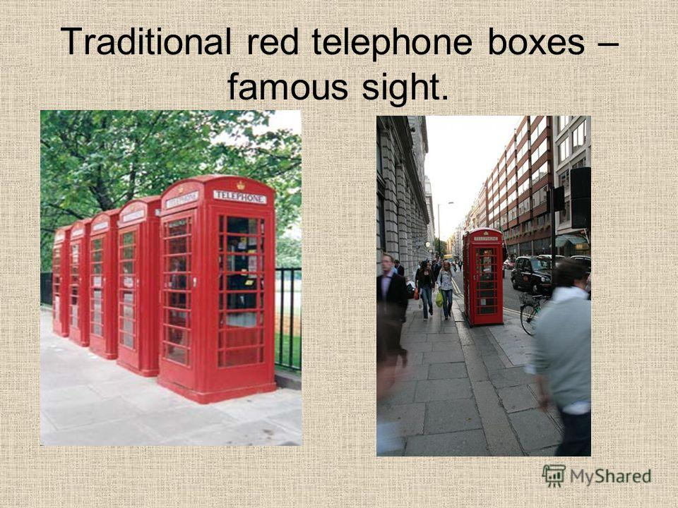 Traditional red telephone boxes – famous sight.