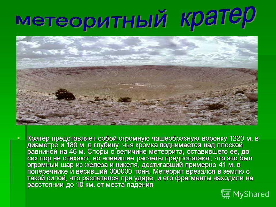 Кратер представляет собой огромную чашеобразную воронку 1220 м. в диаметре и 180 м. в глубину, чья кромка поднимается над плоской равниной на 46 м. Споры о величине метеорита, оставившего ее, до сих пор не стихают, но новейшие расчеты предполагают, ч