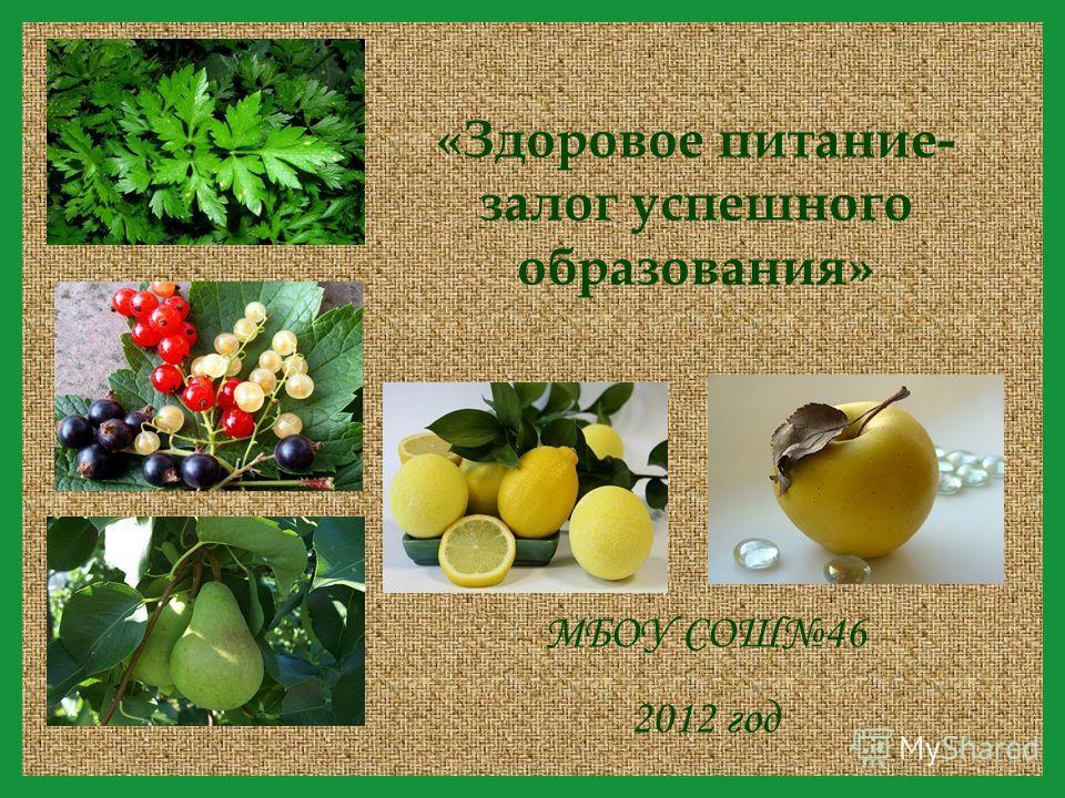 МБОУ СОШ46 2012 год «Здоровое питание- залог успешного образования»