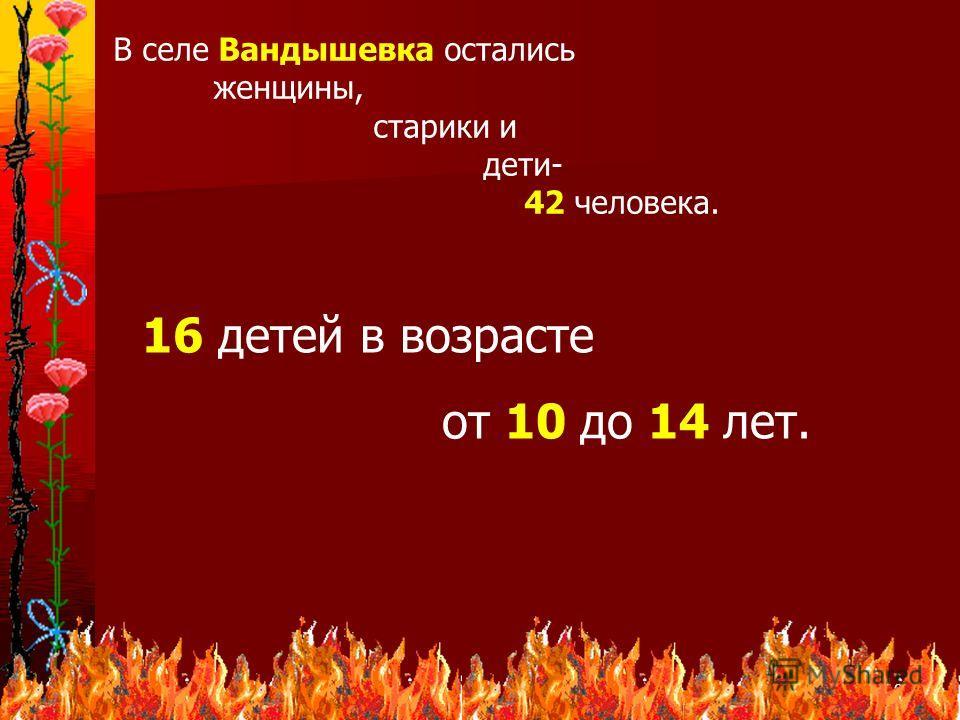 10 В селе Вандышевка остались женщины, старики и дети- 42 человека. 16 детей в возрасте от 10 до 14 лет.
