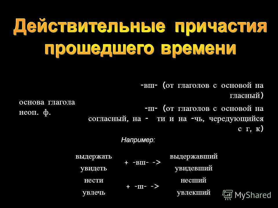 основа глагола неоп. ф. - вш - ( от глаголов с основой на гласный ) - ш - ( от глаголов с основой на согласный, на - ти и на - чь, чередующийся с г, к ) выдержать + - вш - -> выдержавший увидетьувидевший нести + - ш - -> несший увлечьувлекший Наприме