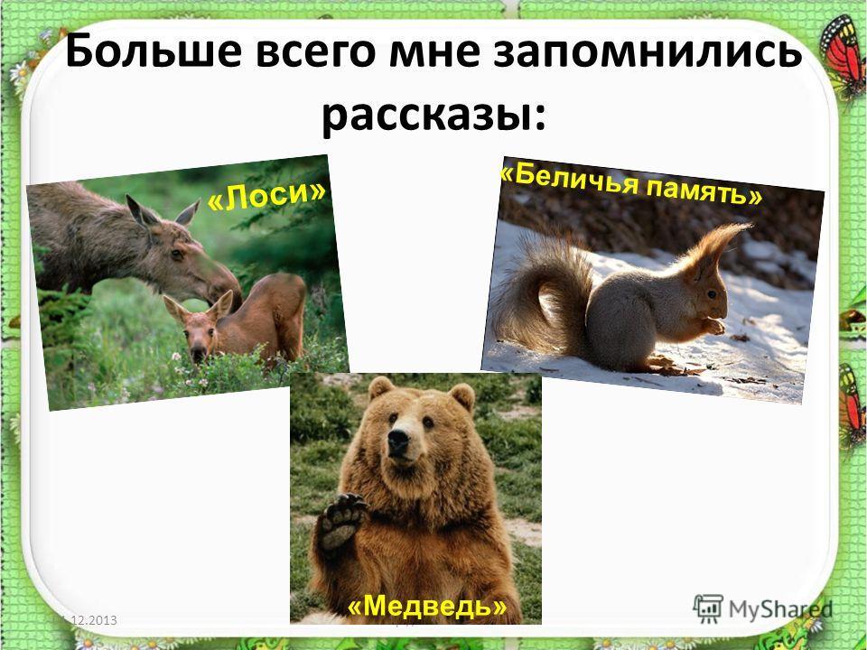 Больше всего мне запомнились рассказы: 01.12.2013http://aida.ucoz.ru3 «Лоси» «Беличья память» «Медведь»