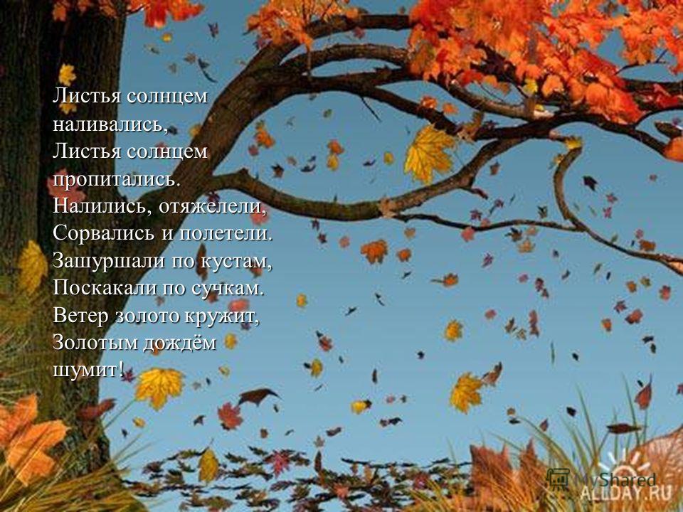 И.Мазнин «Золотая осень» Посмотри, как день прекрасен, И как ясен небосклон, Как горит под солнцем ясень, Как горит под солнцем ясень, Без огня пылает клен. И кружится над поляной, Как жар-птица лист багряный. И багряны, как рубины, Рдеют ягоды рябин