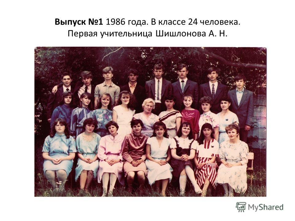 Выпуск 1 1986 года. В классе 24 человека. Первая учительница Шишлонова А. Н.