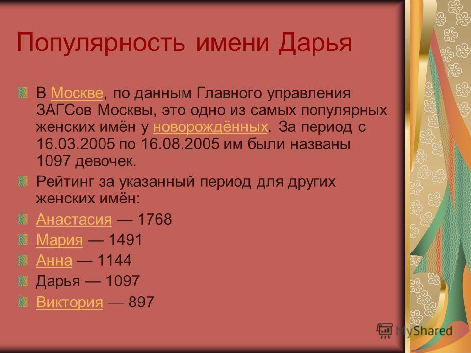 Популярность имени Дарья В Москве, по данным Главного управления ЗАГСов Москвы, это одно из самых популярных женских имён у новорождённых. За период с 16.03.2005 по 16.08.2005 им были названы 1097 девочек.Москвеноворождённых Рейтинг за указанный пери