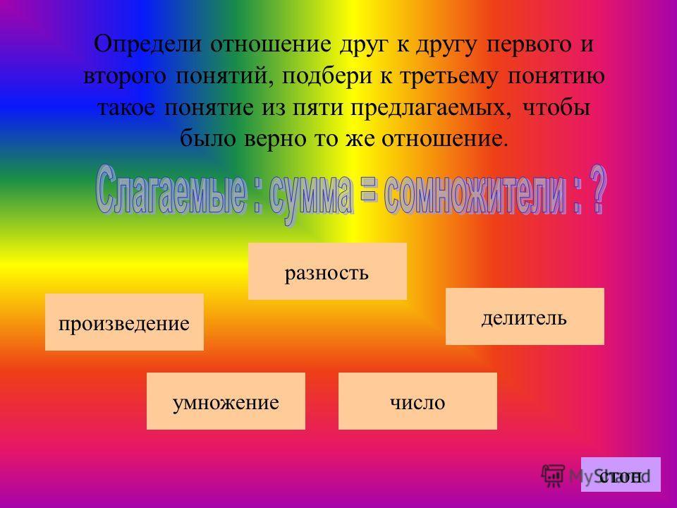 Определи отношение друг к другу первого и второго понятий, подбери к третьему понятию такое понятие из пяти предлагаемых, чтобы было верно то же отношение. число произведение делитель умножение разность стоп