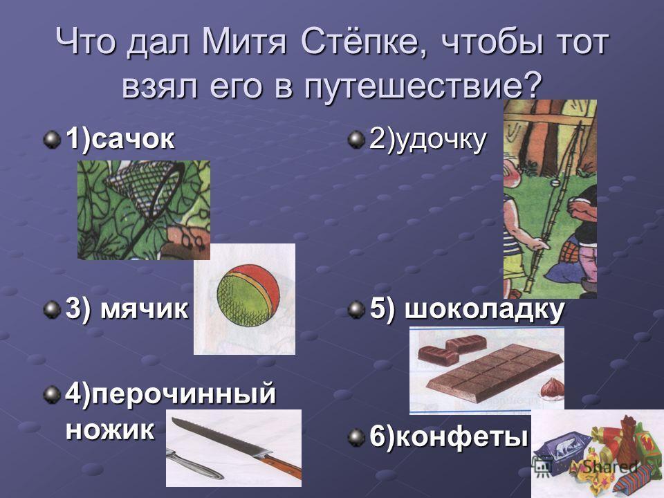 Что дал Митя Стёпке, чтобы тот взял его в путешествие? 1)сачок2)удочку 3) мячик 4)перочинный ножик 5) шоколадку 6)конфеты