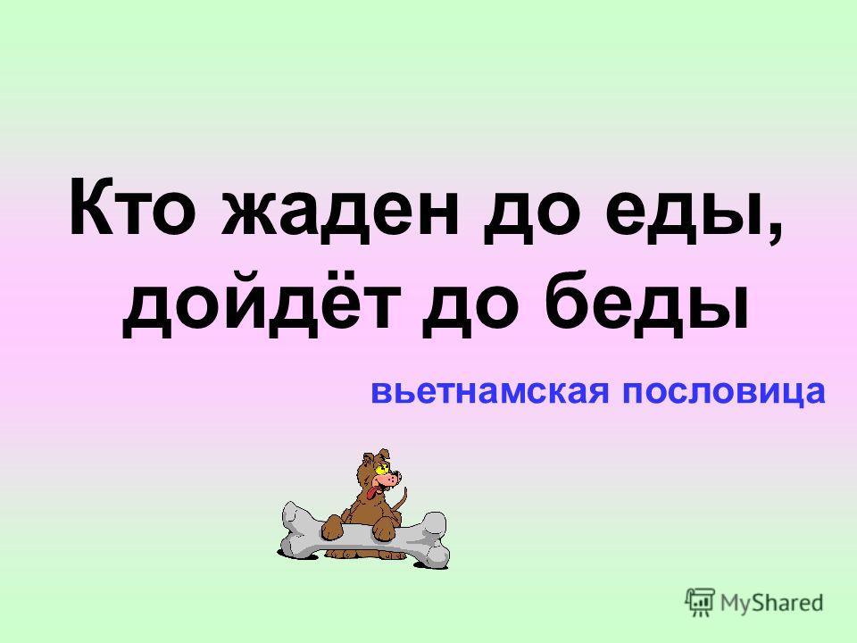 вьетнамская пословица Кто жаден до еды, дойдёт до беды