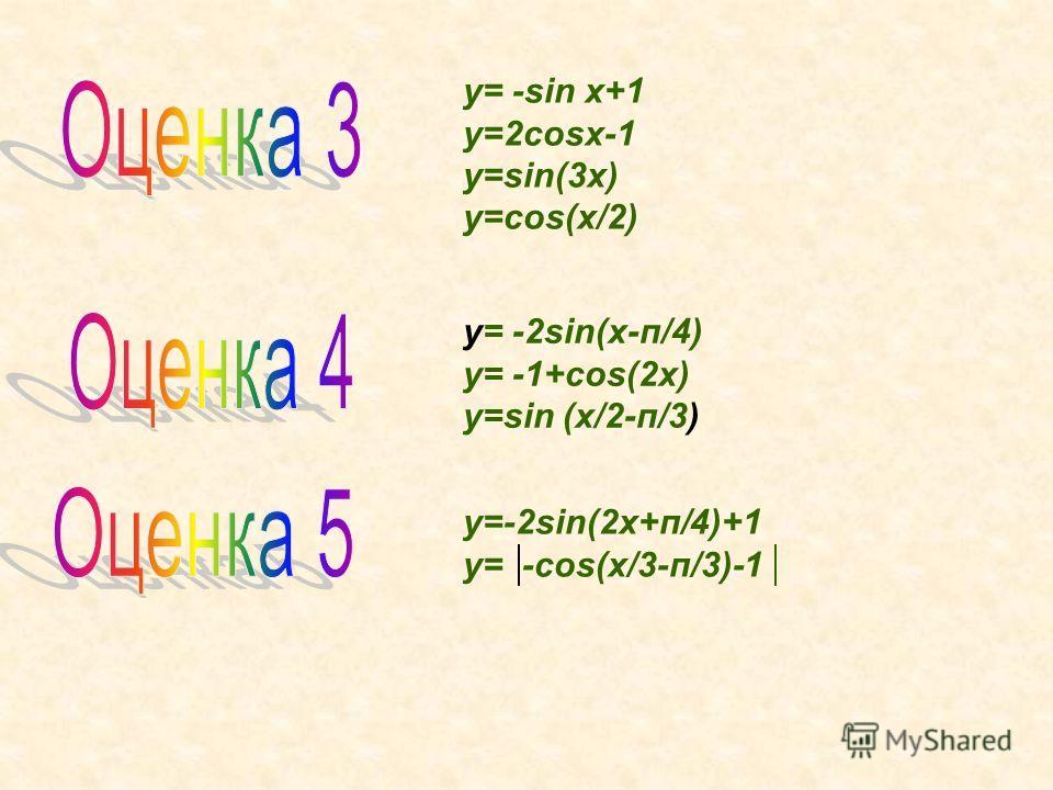 y= -sin x+1 y=2cosx-1 y=sin(3x) y=cos(x/2) y= -2sin(x-п/4) y= -1+cos(2x) y=sin (x/2-п/3) y=-2sin(2x+п/4)+1 y= -cos(x/3-п/3)-1