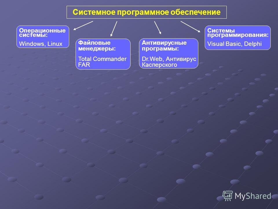 Системное программное обеспечение Антивирусные программы: Dr.Web, Антивирус Касперского Файловые менеджеры: Total Commander FAR Системы программирования: Visual Basic, Delphi Операционные системы: Windows, Linux