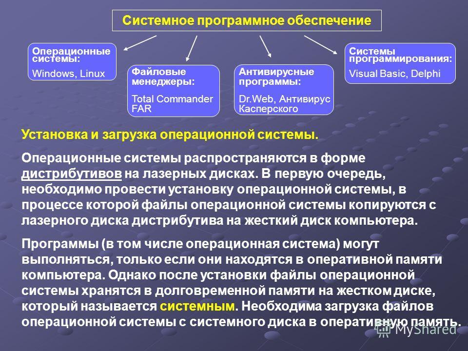 Системное программное обеспечение Антивирусные программы: Dr.Web, Антивирус Касперского Файловые менеджеры: Total Commander FAR Системы программирования: Visual Basic, Delphi Операционные системы: Windows, Linux Установка и загрузка операционной сист