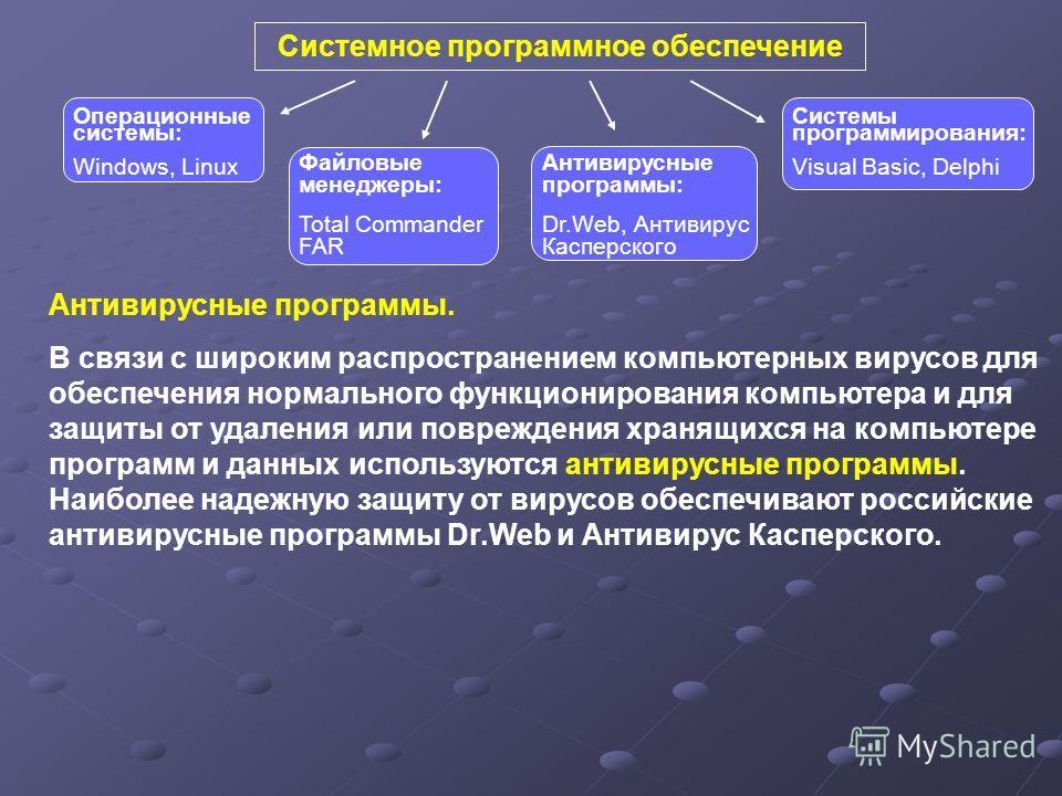 Системное программное обеспечение Антивирусные программы: Dr.Web, Антивирус Касперского Файловые менеджеры: Total Commander FAR Системы программирования: Visual Basic, Delphi Операционные системы: Windows, Linux Антивирусные программы. В связи с широ