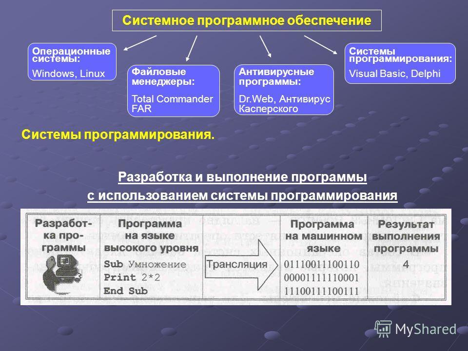 Системное программное обеспечение Антивирусные программы: Dr.Web, Антивирус Касперского Файловые менеджеры: Total Commander FAR Системы программирования: Visual Basic, Delphi Операционные системы: Windows, Linux Системы программирования. Разработка и
