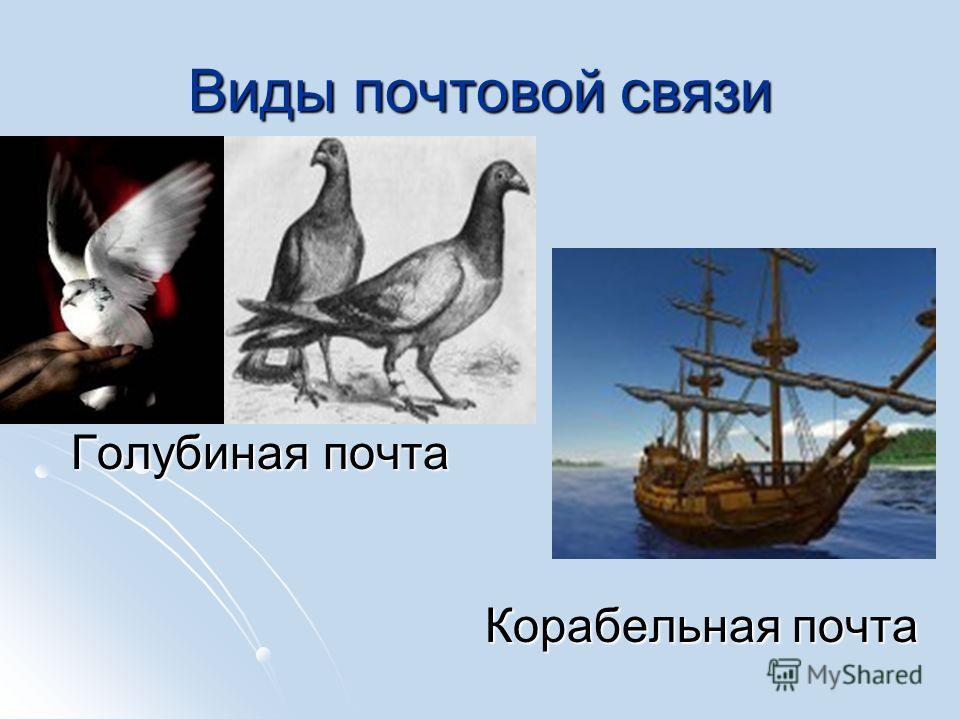 Виды почтовой связи Голубиная почта Голубиная почта Корабельная почта Корабельная почта