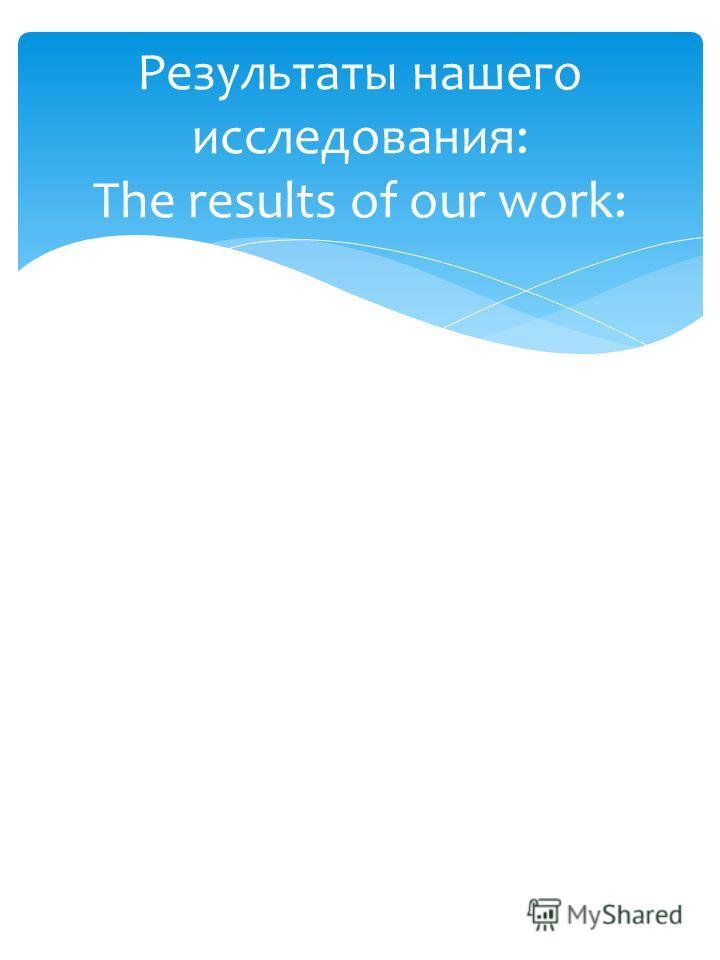 Результаты нашего исследования: The results of our work: