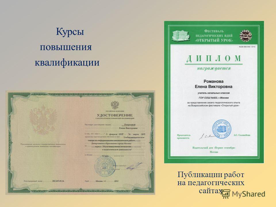 Курсы повышения квалификации Публикации работ на педагогических сайтах