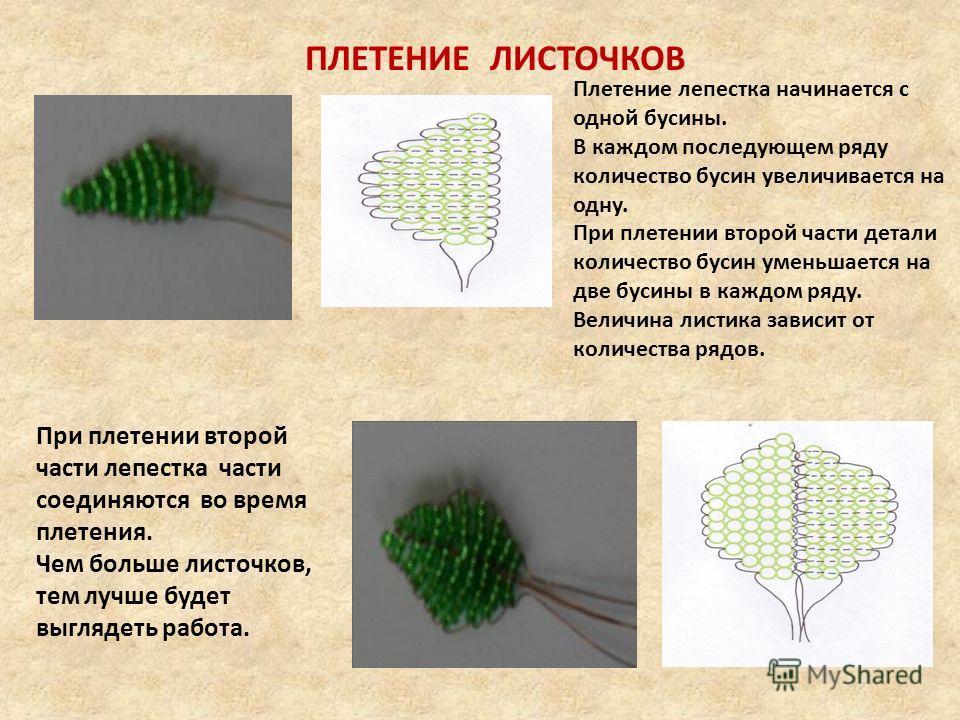 Плетение лепестка начинается с одной бусины. В каждом последующем ряду количество бусин увеличивается на одну. При плетении второй части детали количество бусин уменьшается на две бусины в каждом ряду. Величина листика зависит от количества рядов. Пр