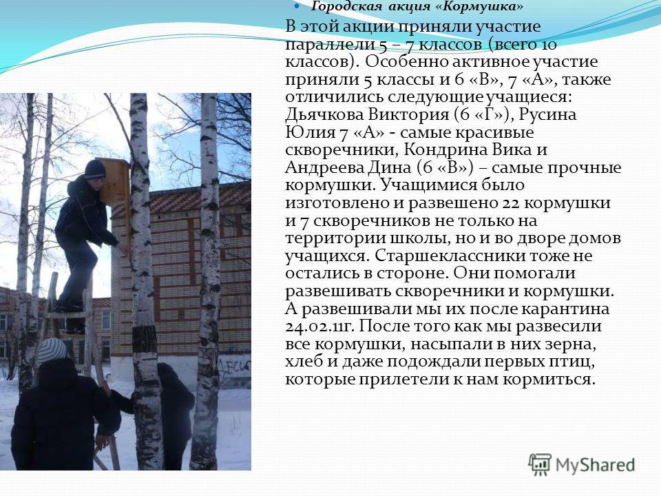 Городская акция «Кормушка» В этой акции приняли участие параллели 5 – 7 классов (всего 10 классов). Особенно активное участие приняли 5 классы и 6 «В», 7 «А», также отличились следующие учащиеся: Дьячкова Виктория (6 «Г»), Русина Юлия 7 «А» - самые к