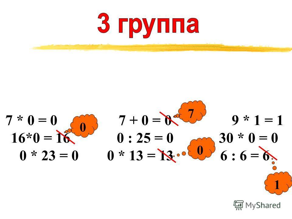 7 * 0 = 0 7 + 0 = 0 9 * 1 = 1 16*0 = 16 0 : 25 = 0 30 * 0 = 0 0 * 23 = 00 * 13 = 13 6 : 6 = 6 0 7 0 1