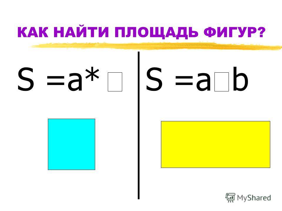 КАК НАЙТИ ПЛОЩАДЬ ФИГУР? S =а* S =а b