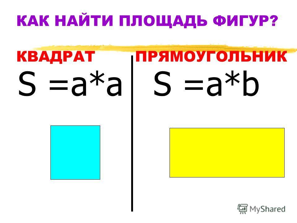 КАК НАЙТИ ПЛОЩАДЬ ФИГУР? КВАДРАТ ПРЯМОУГОЛЬНИК S =а*а S =а*b