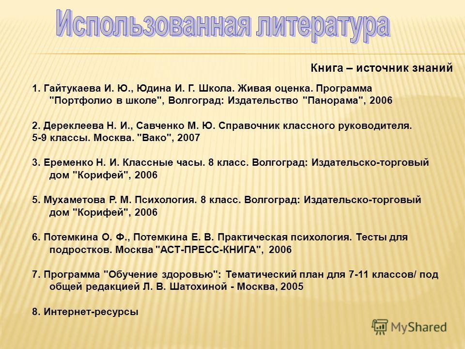 Книга – источник знаний 1. Гайтукаева И. Ю., Юдина И. Г. Школа. Живая оценка. Программа