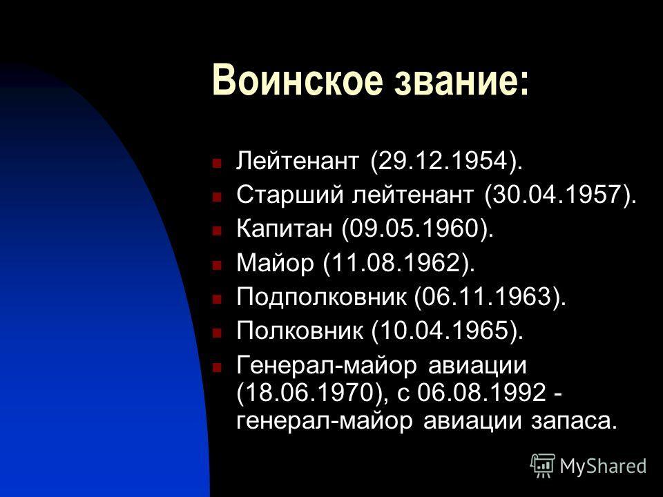 Воинское звание: Лейтенант (29.12.1954). Старший лейтенант (30.04.1957). Капитан (09.05.1960). Майор (11.08.1962). Подполковник (06.11.1963). Полковник (10.04.1965). Генерал-майор авиации (18.06.1970), с 06.08.1992 - генерал-майор авиации запаса.