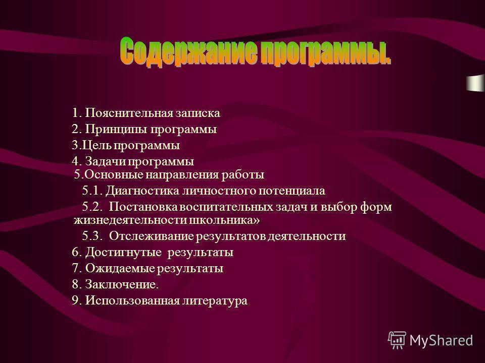 1. Пояснительная записка 2. Принципы программы 3.Цель программы 4. Задачи программы 5.Основные направления работы 5.1. Диагностика личностного потенциала 5.2. Постановка воспитательных задач и выбор форм жизнедеятельности школьника» 5.3. Отслеживание