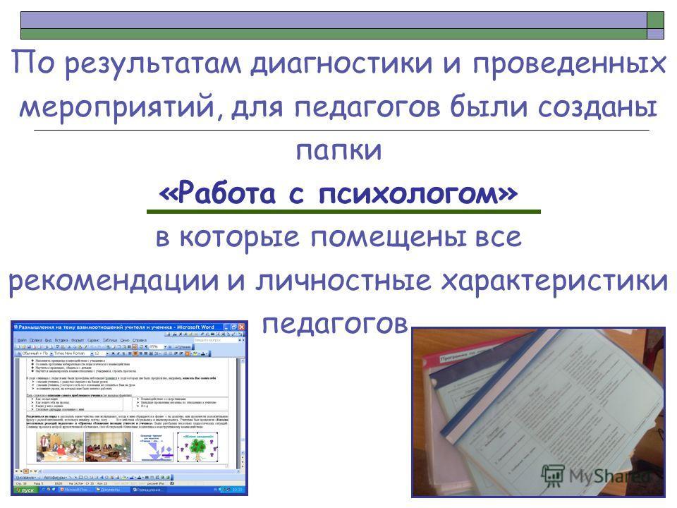 По результатам диагностики и проведенных мероприятий, для педагогов были созданы папки «Работа с психологом» в которые помещены все рекомендации и личностные характеристики педагогов.