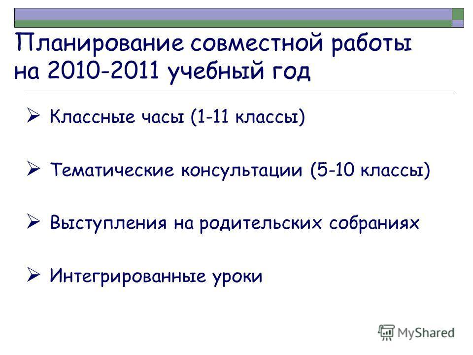 Планирование совместной работы на 2010-2011 учебный год Классные часы (1-11 классы) Тематические консультации (5-10 классы) Выступления на родительских собраниях Интегрированные уроки