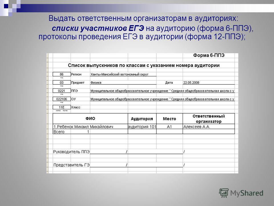 Выдать ответственным организаторам в аудиториях: списки участников ЕГЭ на аудиторию (форма 6-ППЭ), протоколы проведения ЕГЭ в аудитории (форма 12-ППЭ);