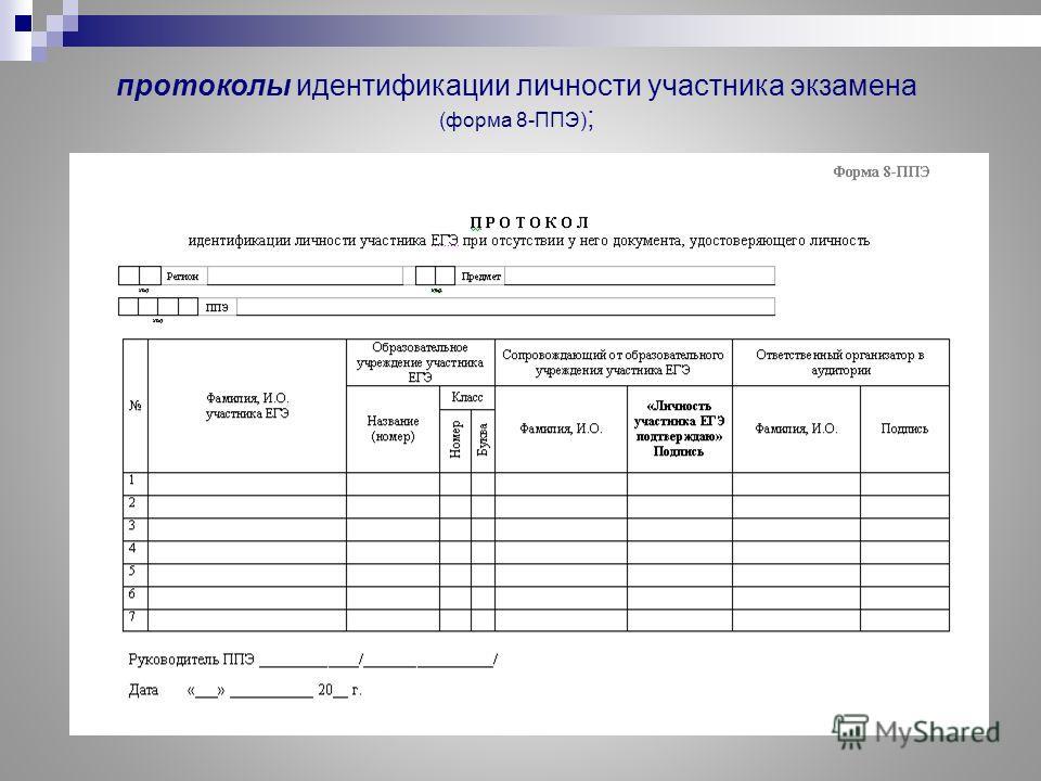 протоколы идентификации личности участника экзамена (форма 8-ППЭ) ;