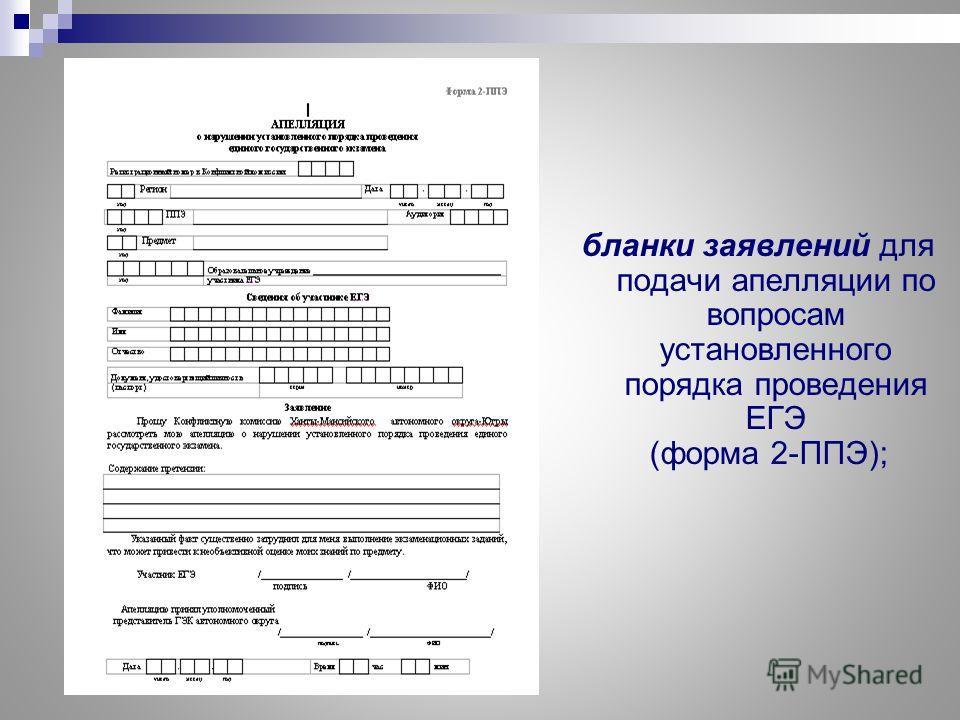 бланки заявлений для подачи апелляции по вопросам установленного порядка проведения ЕГЭ (форма 2-ППЭ);
