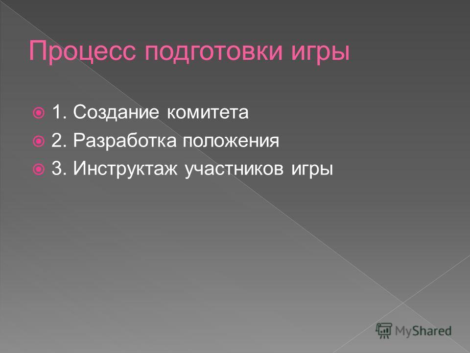 1. Создание комитета 2. Разработка положения 3. Инструктаж участников игры