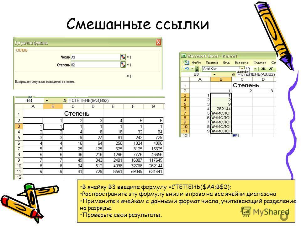 Смешанные ссылки В ячейку В3 введите формулу =СТЕПЕНЬ($A4;B$2); Распространите эту формулу вниз и вправо на все ячейки диапазона Примените к ячейкам с данными формат числа, учитывающий разделение на разряды. Проверьте свои результаты.