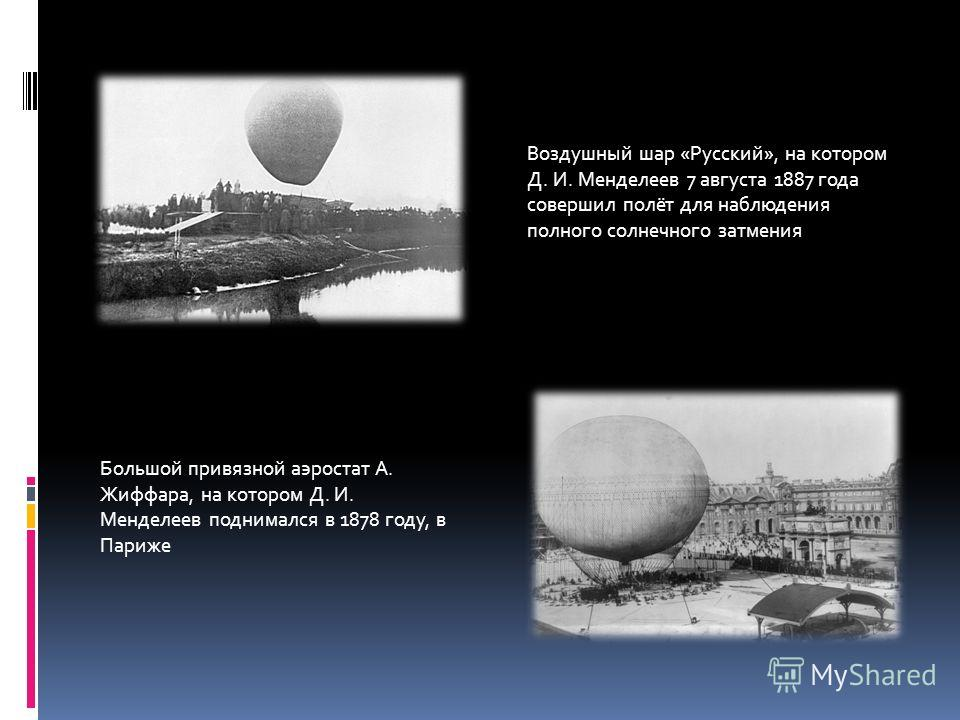 Воздушный шар «Русский», на котором Д. И. Менделеев 7 августа 1887 года совершил полёт для наблюдения полного солнечного затмения Большой привязной аэростат А. Жиффара, на котором Д. И. Менделеев поднимался в 1878 году, в Париже