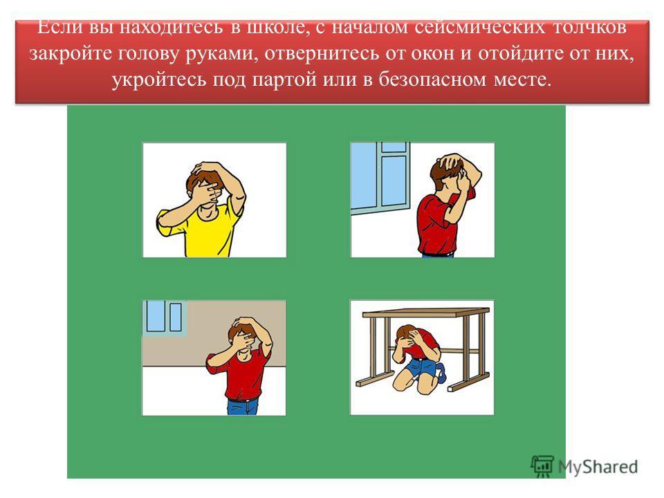Если вы находитесь в школе, с началом сейсмических толчков закройте голову руками, отвернитесь от окон и отойдите от них, укройтесь под партой или в безопасном месте.