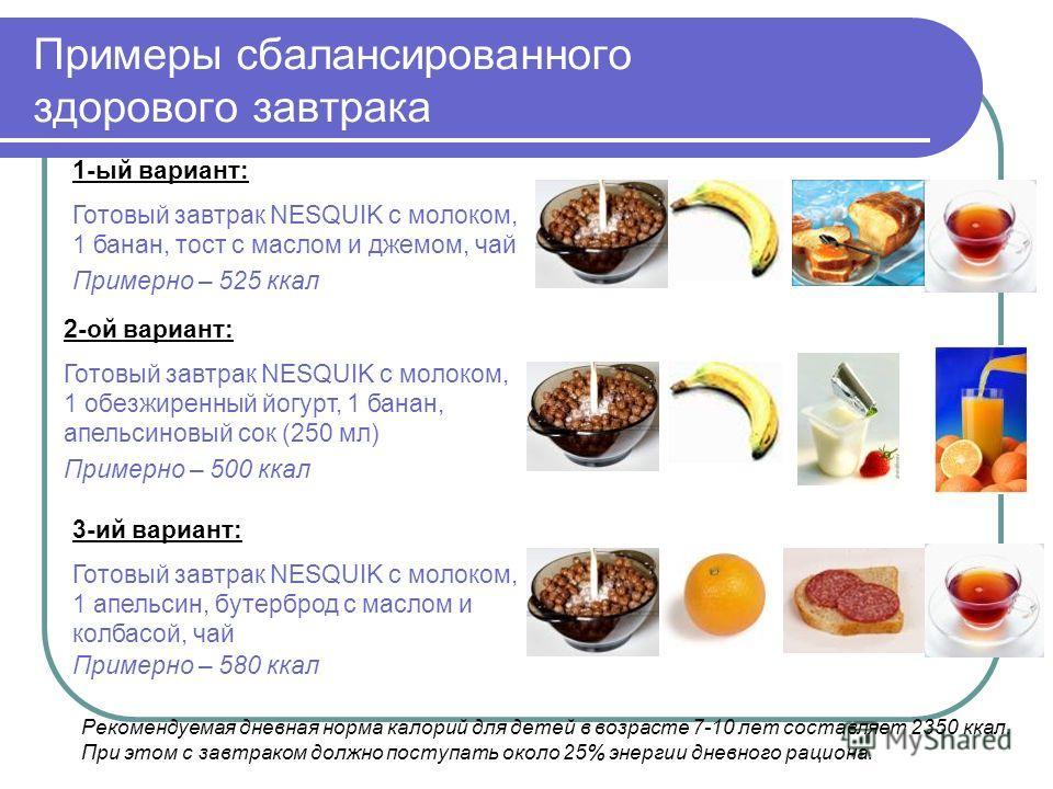 1-ый вариант: Готовый завтрак NESQUIK с молоком, 1 банан, тост с маслом и джемом, чай Примерно – 525 ккал Примеры сбалансированного здорового завтрака 2-ой вариант: Готовый завтрак NESQUIK с молоком, 1 обезжиренный йогурт, 1 банан, апельсиновый сок (