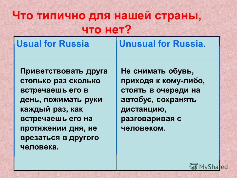 Что типично для нашей страны, что нет? Usual for RussiaUnusual for Russia. Приветствовать друга столько раз сколько встречаешь его в день, пожимать руки каждый раз, как встречаешь его на протяжении дня, не врезаться в другого человека. Не снимать обу