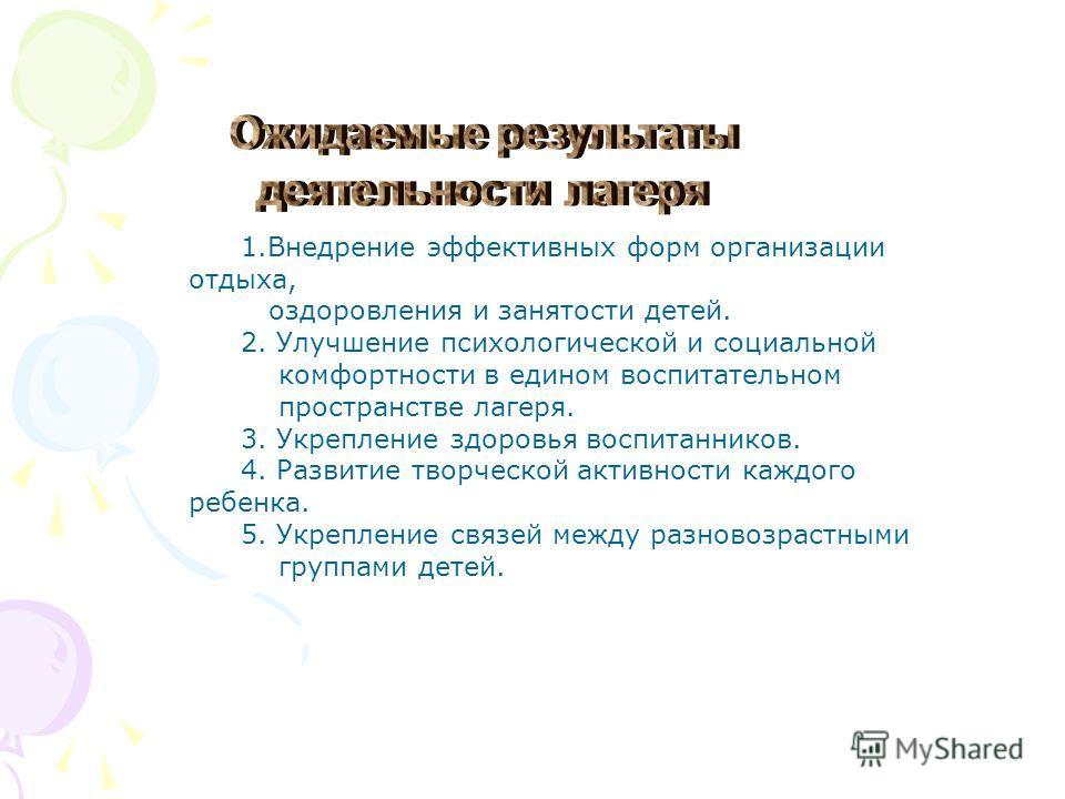 1.Внедрение эффективных форм организации отдыха, оздоровления и занятости детей. 2. Улучшение психологической и социальной комфортности в едином воспитательном пространстве лагеря. 3. Укрепление здоровья воспитанников. 4. Развитие творческой активнос