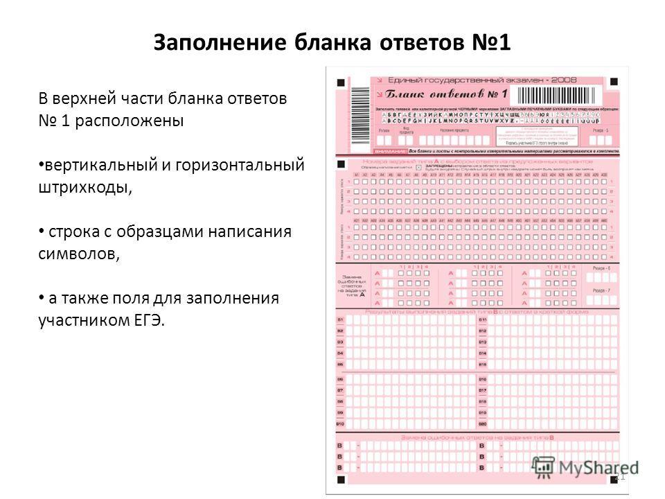Заполнение бланка ответов 1 В верхней части бланка ответов 1 расположены вертикальный и горизонтальный штрихкоды, строка с образцами написания символов, а также поля для заполнения участником ЕГЭ. 21