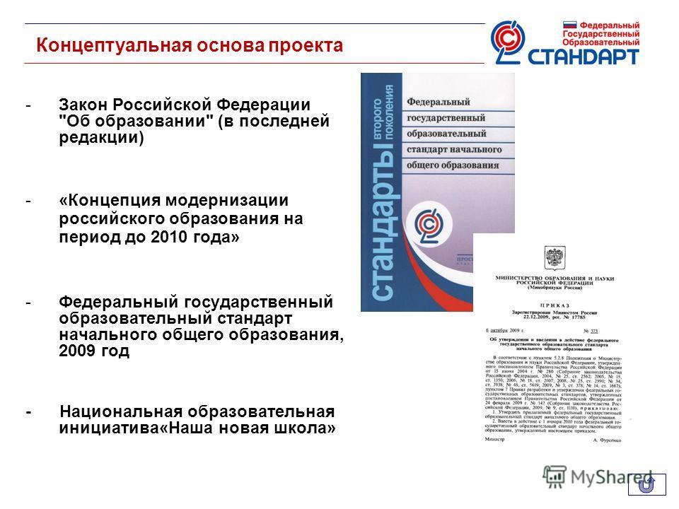 Концептуальная основа проекта -Закон Российской Федерации