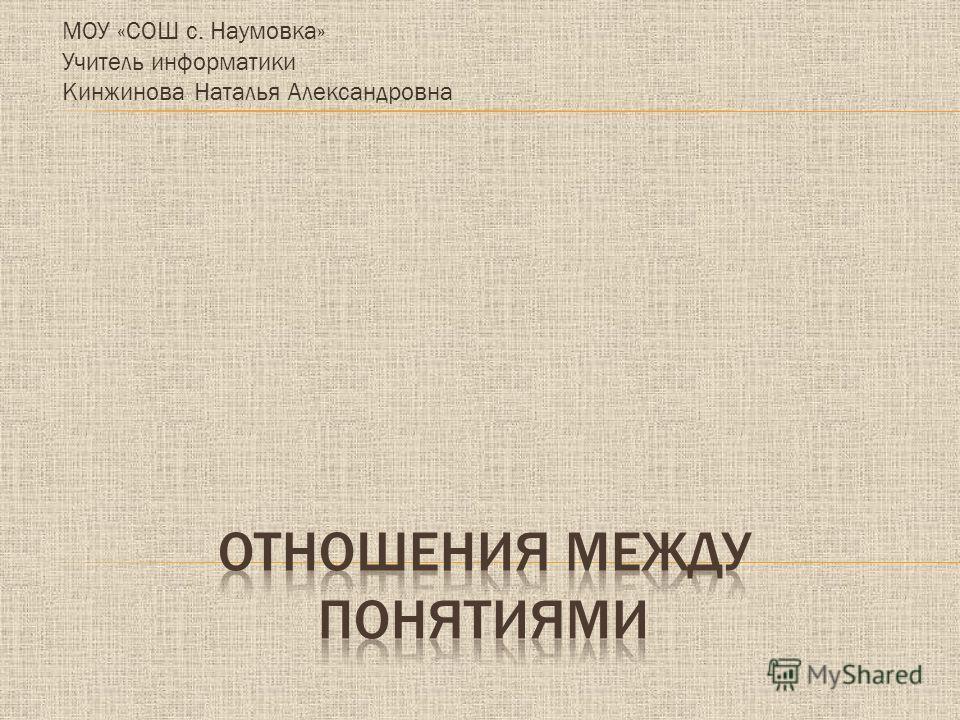 МОУ «СОШ с. Наумовка» Учитель информатики Кинжинова Наталья Александровна
