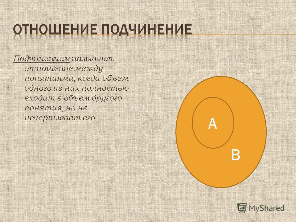 Подчинением называют отношение между понятиями, когда объем одного из них полностью входит в объем другого понятия, но не исчерпывает его. В А