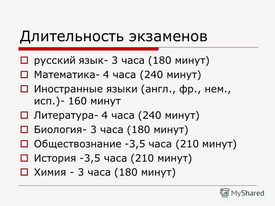 Длительность экзаменов русский язык- 3 часа (180 минут) Математика- 4 часа (240 минут) Иностранные языки (англ., фр., нем., исп.)- 160 минут Литература- 4 часа (240 минут) Биология- 3 часа (180 минут) Обществознание -3,5 часа (210 минут) История -3,5