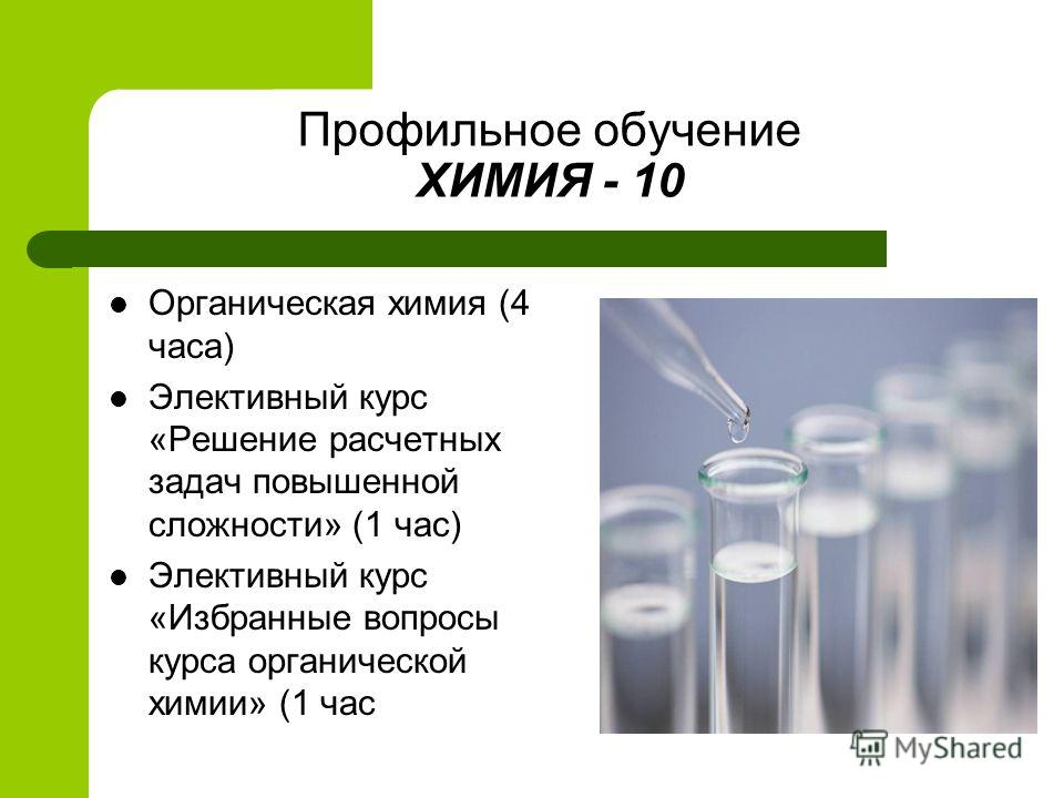 Профильное обучение ХИМИЯ - 10 Органическая химия (4 часа) Элективный курс «Решение расчетных задач повышенной сложности» (1 час) Элективный курс «Избранные вопросы курса органической химии» (1 час